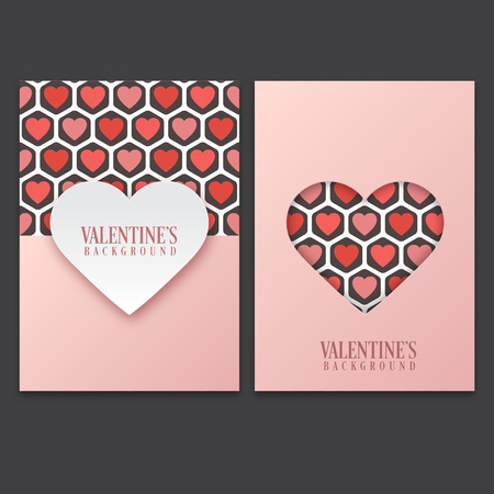 Set of Valentines day greeting cards with cute heart pattern background Ilustracja