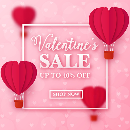Valentines day sale design with heart shaped paper hot air balloons flying