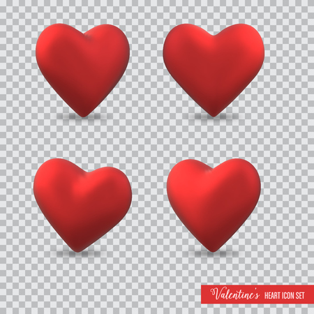 3D heart icon set for Valentines day on transparent background
