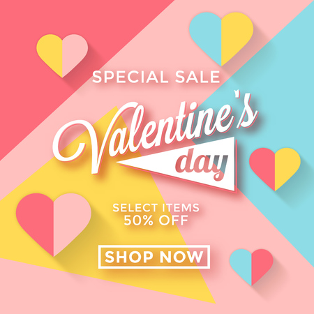 Valentines day sale template with pastel colors and paper hearts - memphis style design Ilustracja