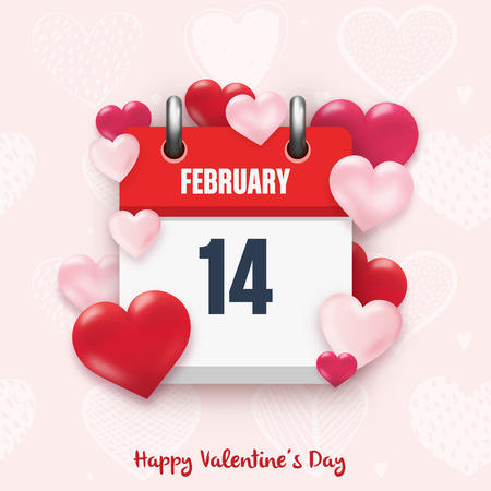 February 14 - Valentines day design with calendar icon and hearts