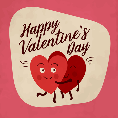 Valentines day greeting with heart shaped character illustrations hugging and feeling in love