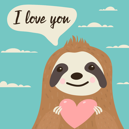 "Sloth character in love with heart in hands - cute illustration ideal for valentines day card with text ""I love you"" Ilustracja"