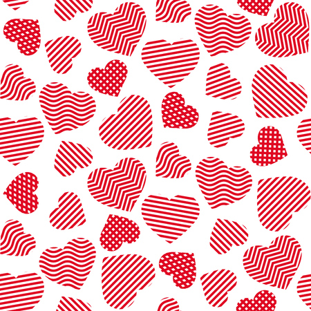 Cute red hearts seamless pattern made of lines ideal for valentines day