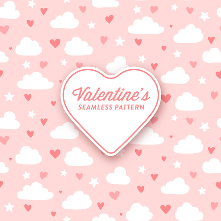 Cute clouds and hearts pattern for valentines day or girly designs - seamless pattern