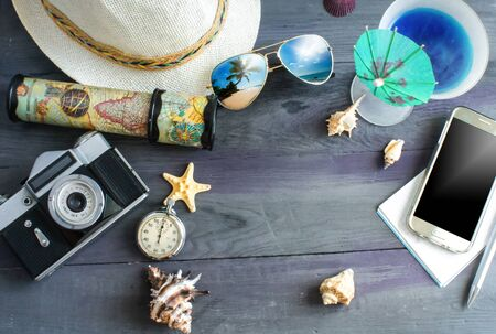 travel and vacation concept wooden table background