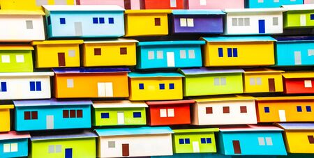 The texture of the multicolor houses bright buildings. Imagens