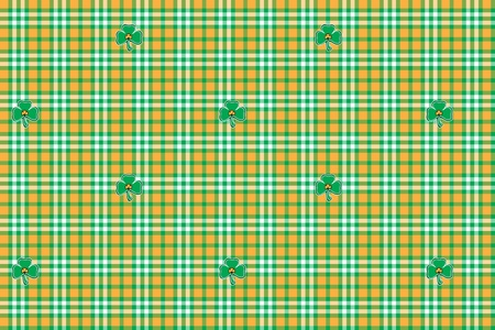 Checkered background with clover