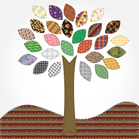 needlework: tree - stilizzazione ricami, tempo di primavera, come patchwork