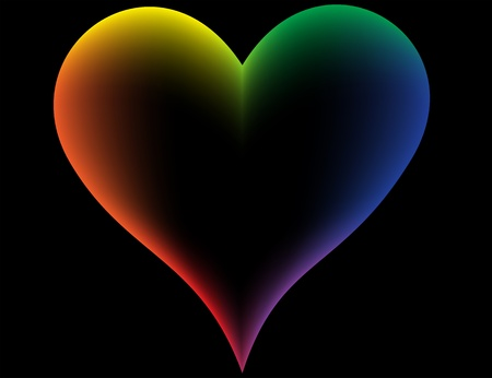 Iridescent heart on a black background