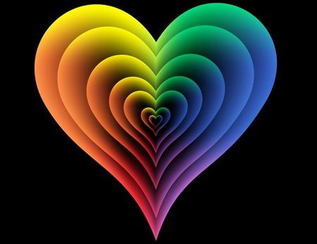 Seven Iridescent hearts on a black background Illustration
