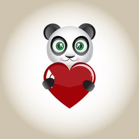 Panda bear with heart in paws