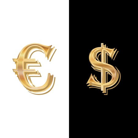 Dollar and Euro on a black-and-white background Vector