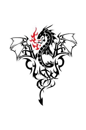 tatouage sexy: Noir Tatoo dragon Illustration