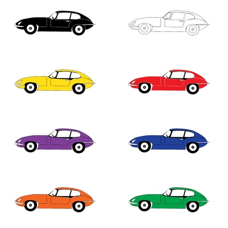 prestige car: Eight cars of color of a rainbow Illustration