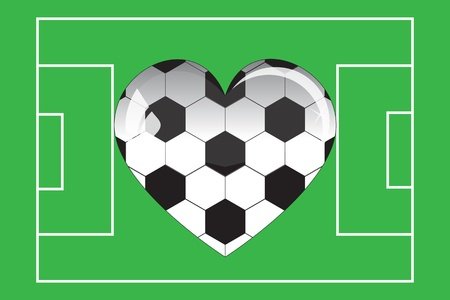 glass heart football in the field Vector