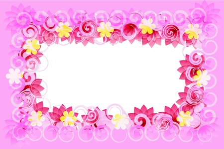 Pink romantic Card flowers, vector abstraction