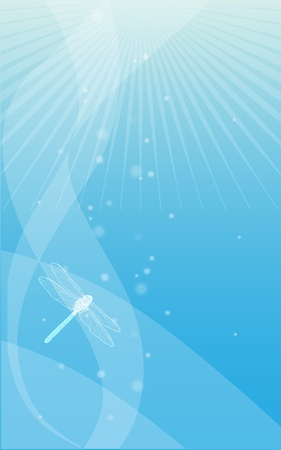 blue abstract background with a dragonfly Vector
