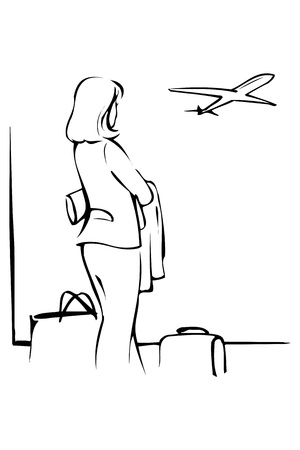 the woman at the airport looks through a window Illustration