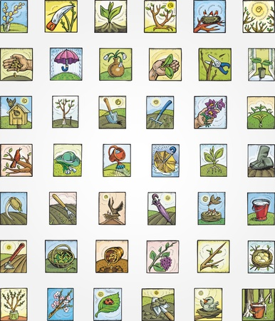 Set of vector icons - Spring in a garden
