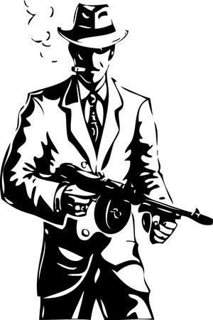 gangster with gun: dibujo - el gangster - una mafia Vectores