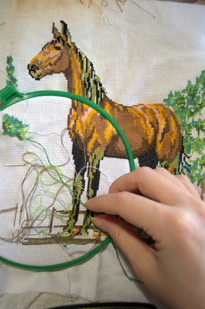 embroidery a dagger - a horse hand made