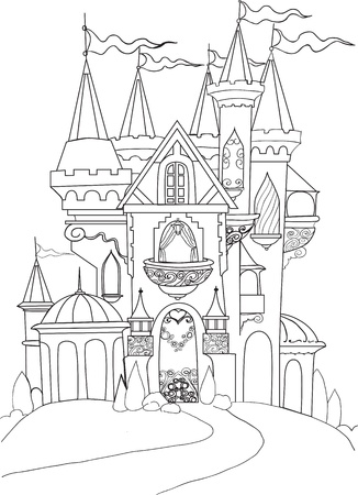Color book palace fairy tale Vector