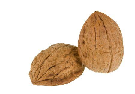 Shells of walnut isolated on white background