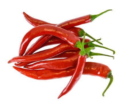 Red chili peppers isolated on white background Imagens