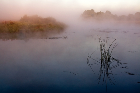 Dawn on the river in a fog Stock Photo