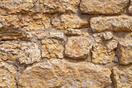 A wall built of old limestone