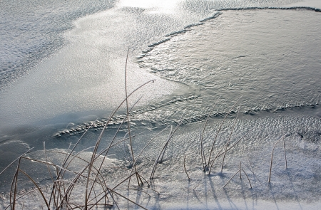 Ice hole and dry plants on the river in winter