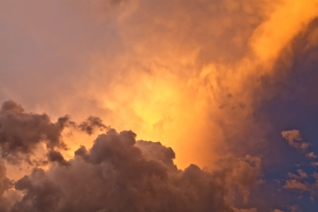 Sky with clouds at sunset after the rainstorm