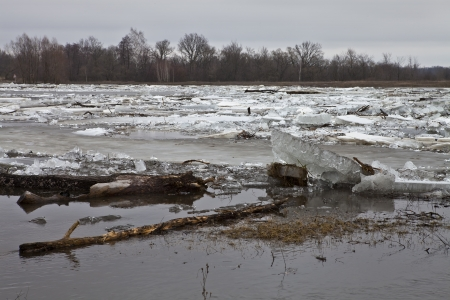 cloud drift: Ice floating on the river in the spring