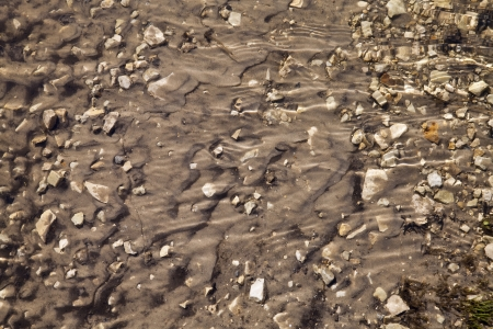 clear water: Sand and stones under the current clear water