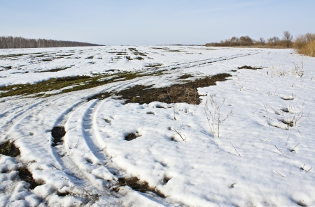 thawed: First the snow thawed in the spring in field Stock Photo