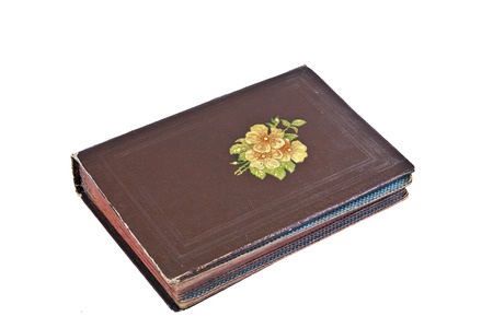 Old photograph album, decorated with brown artificial leather