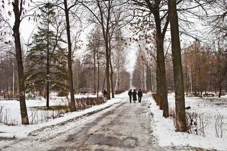 People walking along the alley in the park during the winter thaw Stock Photo