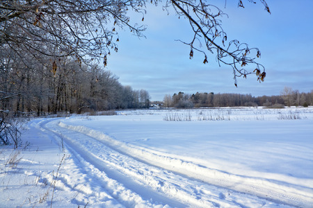 Winter road on a snow-covered field near the village