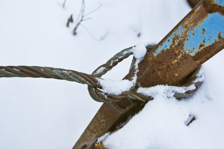 Elements of old rusty steel structure photographed close up