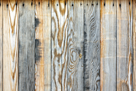 Background from old pine boards, nailed rusty nails Stock Photo