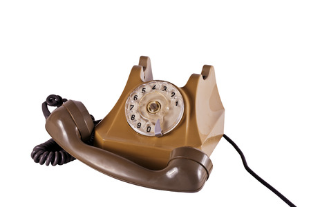 Old plastic telephone with a tube and a wire Stock Photo