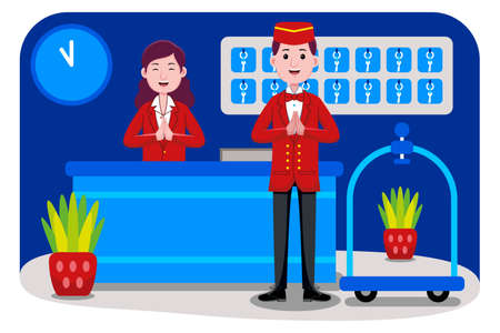 Hotel Receptionist Profession with an illustration. Flat design with cartoon characters.