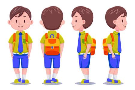 Cute Kids Boy Student carrying Backpack 01 Vector Illustratie