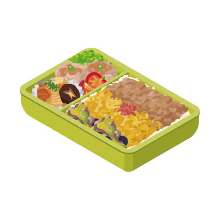 Japanese lunch box bento. Isometric Colorful Illustration.  Homemade Grilled Meat Bento