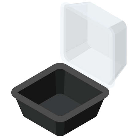 Empty take-out containers. Isometric colorful illustration.
