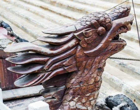 cleat: Wood dragon Cleat  on Terrace boat