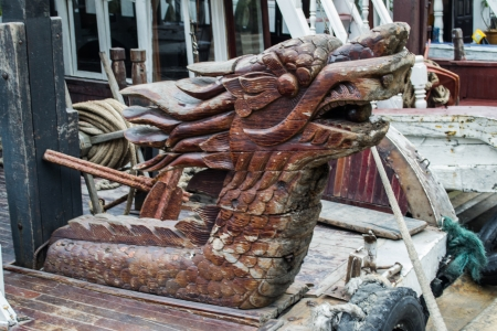 Wood dragon Cleat  on Terrace boat photo