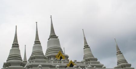 samutprakarn: White Pagoda ,Wat Asokkaram Samutprakarn,Thailand Stock Photo