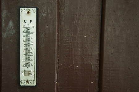 old mercury: Old mercury thermometer  on wood wall at hotel Stock Photo